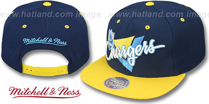 Chargers 'TRIANGLE-SCRIPT SNAPBACK' Navy-Gold Hat by Mitchell and Ness : pictured without stickers that these products are shipped with