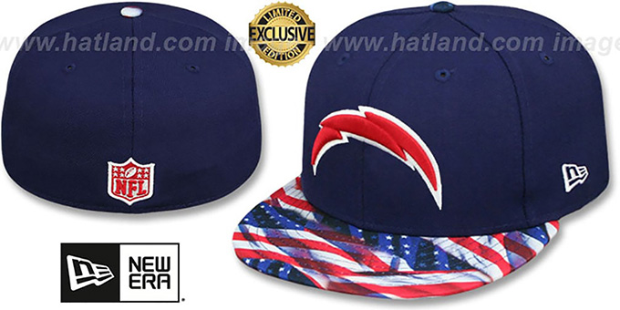 Chargers 'USA WAVING-FLAG' Navy Fitted Hat by New Era : pictured without stickers that these products are shipped with