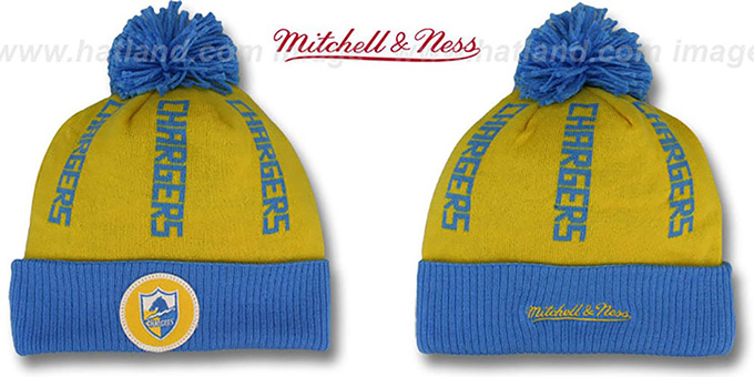 Chargers 'VERTICAL WORD BEANIE' Gold-Sky by Mitchell and Ness : pictured without stickers that these products are shipped with