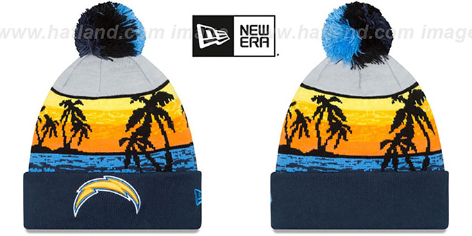 Chargers 'WINTER BEACHIN' Knit Beanie Hat by New Era : pictured without stickers that these products are shipped with