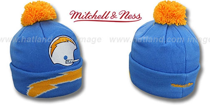 Chargers 'XL-LOGO BEANIE' Blue by Mitchell and Ness : pictured without stickers that these products are shipped with