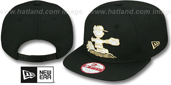 Charlie Brown 'THE PITCH SNAPBACK' Black Hat by New Era : pictured without stickers that these products are shipped with