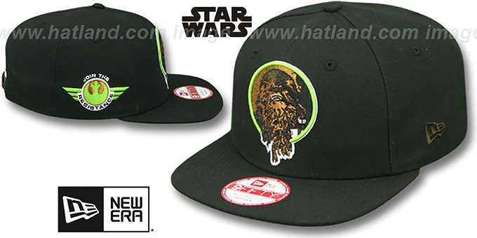 Chewbacca 'RETROFLECT SNAPBACK' Black Hat by New Era : pictured without stickers that these products are shipped with