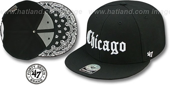 Chicago 'GOTHIC PAISLEY SNAPBACK' Adjustable Hat by Twins 47 Brand : pictured without stickers that these products are shipped with