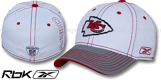 Chiefs '2008-09 SIDELINE-2 FLEX' White-Grey Hat by Reebok : pictured without stickers that these products are shipped with