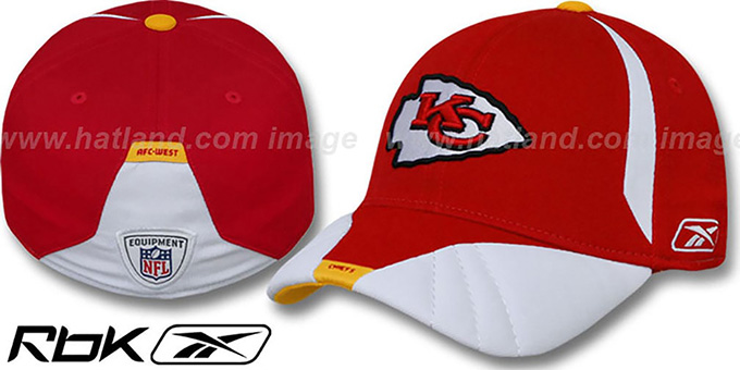 Chiefs '2008 SIDELINE-1 FLEX' Red Hat by Reebok : pictured without stickers that these products are shipped with