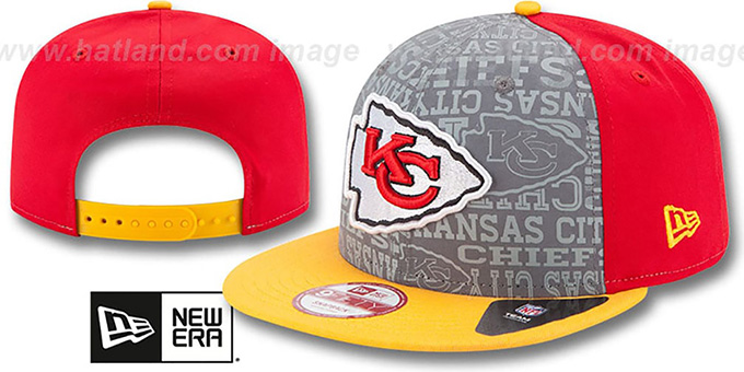 Chiefs '2014 NFL DRAFT SNAPBACK' Red-Gold Hat by New Era : pictured without stickers that these products are shipped with