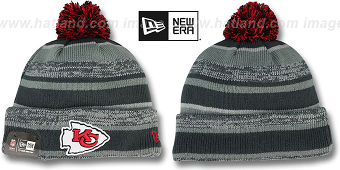 Chiefs '2014 STADIUM' Grey-Grey Knit Beanie Hat by New Era : pictured without stickers that these products are shipped with