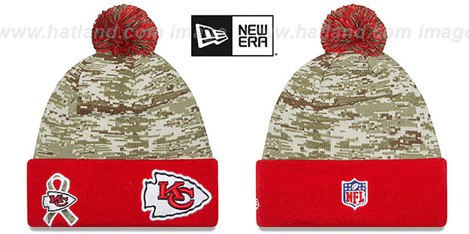 Chiefs '2015 SALUTE-TO-SERVICE' Knit Beanie Hat by New Era : pictured without stickers that these products are shipped with
