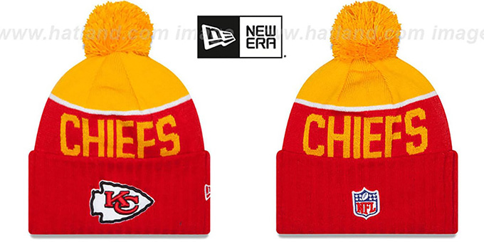 Chiefs '2015 STADIUM' Red-Gold Knit Beanie Hat by New Era : pictured without stickers that these products are shipped with