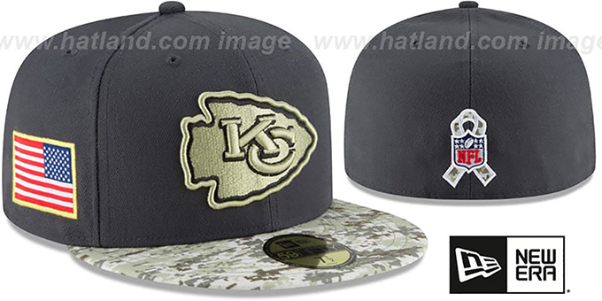 Chiefs '2016 SALUTE-TO-SERVICE' Grey-Desert Fitted Hat by New Era : pictured without stickers that these products are shipped with