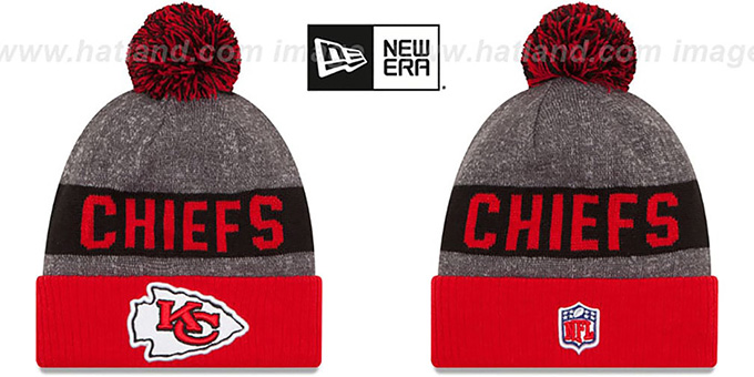Chiefs '2016 STADIUM' Red-Black-Grey Knit Beanie Hat by New Era : pictured without stickers that these products are shipped with