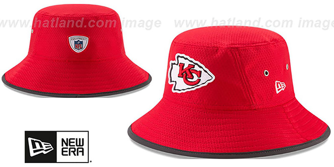 Chiefs '2017 NFL TRAINING BUCKET' Red Hat by New Era : pictured without stickers that these products are shipped with