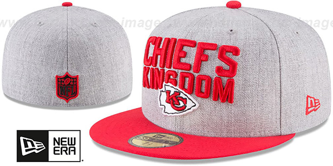Chiefs '2018 ONSTAGE' Grey-Red Fitted Hat by New Era : pictured without stickers that these products are shipped with