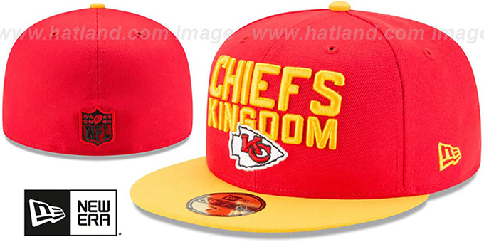 Chiefs '2018 SPOTLIGHT' Red-Gold Fitted Hat by New Era : pictured without stickers that these products are shipped with