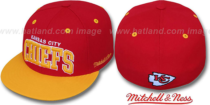 Chiefs '2T CLASSIC-ARCH' Red-Gold Fitted Hat by Mitchell & Ness : pictured without stickers that these products are shipped with