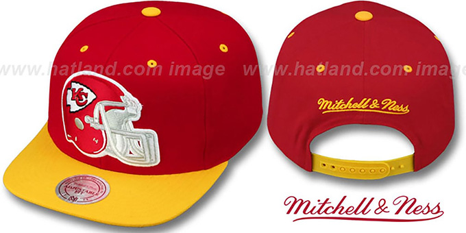 Chiefs '2T XL-HELMET SNAPBACK' Red-Gold Adjustable Hat by Mitchell & Ness : pictured without stickers that these products are shipped with