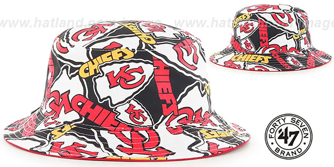 Chiefs 'BRAVADO BUCKET' Hat by Twins 47 Brand : pictured without stickers that these products are shipped with