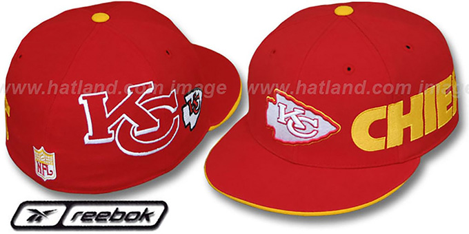 Chiefs 'ELEMENTS' 2 Fitted Hat by Reebok - red : pictured without stickers that these products are shipped with