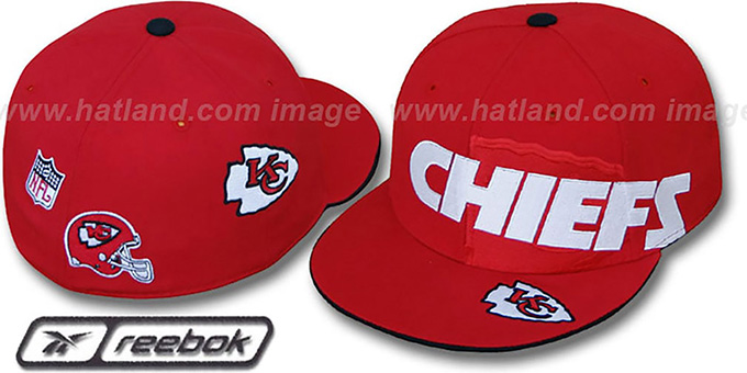 Chiefs 'ELEMENTS' Fitted Hat by Reebok - red : pictured without stickers that these products are shipped with