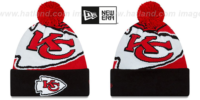 Chiefs 'LOGO WHIZ' Red-Black Knit Beanie Hat by New Era : pictured without stickers that these products are shipped with
