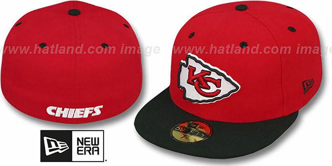 Chiefs 'NFL 2T-TEAM-BASIC' Red-Black Fitted Hat by New Era : pictured without stickers that these products are shipped with