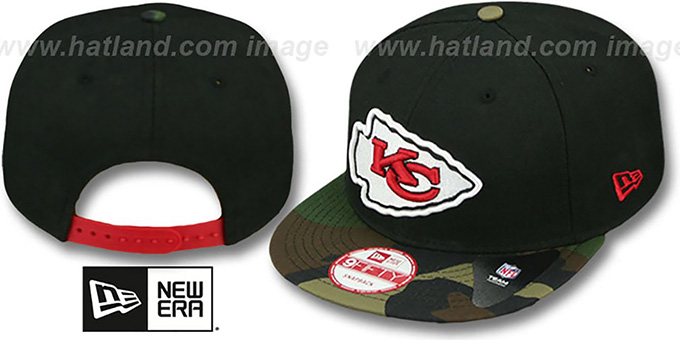 Chiefs 'NFL CAMO-BRIM SNAPBACK' Adjustable Hat by New Era : pictured without stickers that these products are shipped with