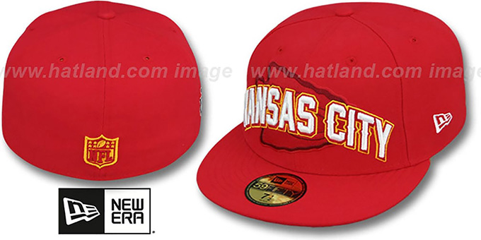 Chiefs 'NFL ONFIELD DRAFT' Red Fitted Hat by New Era : pictured without stickers that these products are shipped with