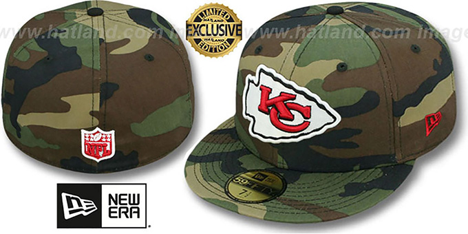 Chiefs 'NFL TEAM-BASIC' Army Camo Fitted Hat by New Era : pictured without stickers that these products are shipped with