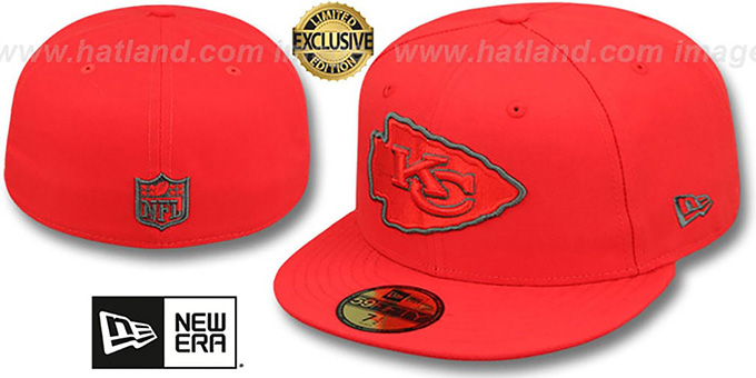 Chiefs 'NFL TEAM-BASIC' Fire Red-Charcoal Fitted Hat by New Era : pictured without stickers that these products are shipped with