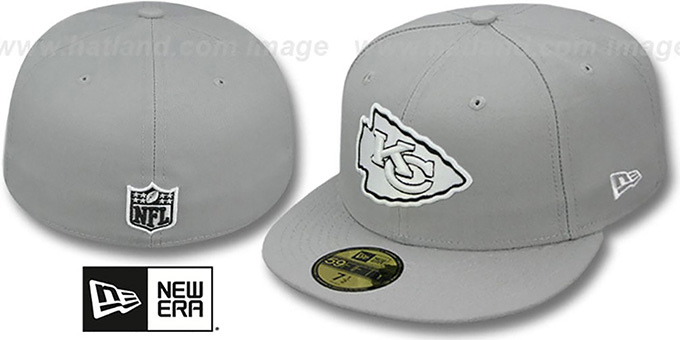 Chiefs 'NFL TEAM-BASIC' Grey-Black-White Fitted Hat by New Era : pictured without stickers that these products are shipped with