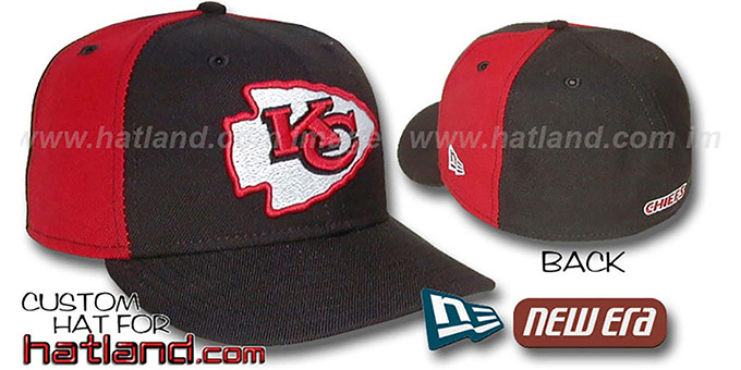 Chiefs 'PINWHEEL' 2 Black-Red Fitted Hat : pictured without stickers that these products are shipped with