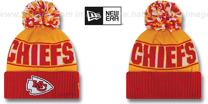 Chiefs 'REP-UR-TEAM' Knit Beanie Hat by New Era : pictured without stickers that these products are shipped with