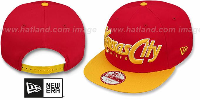 Chiefs 'SNAP-IT-BACK SNAPBACK' Red-Gold Hat by New Era : pictured without stickers that these products are shipped with