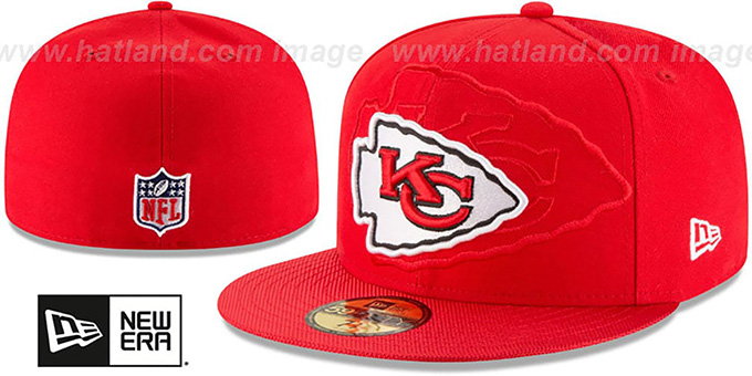 Chiefs 'STADIUM SHADOW' Red Fitted Hat by New Era : pictured without stickers that these products are shipped with