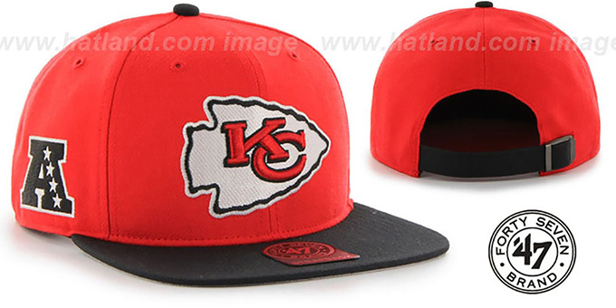 Chiefs 'SUPER-SHOT STRAPBACK' Red-Black Hat by Twins 47 Brand : pictured without stickers that these products are shipped with