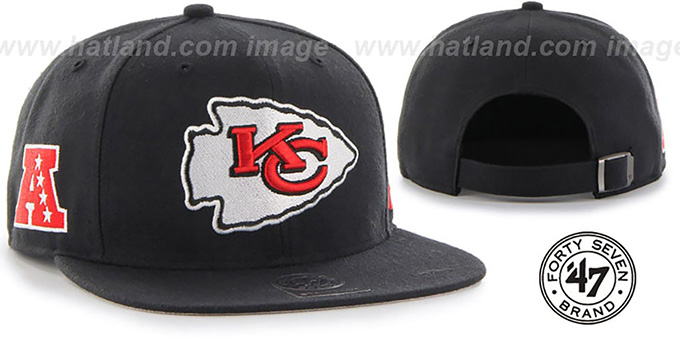Chiefs 'SUPER-SHOT STRAPBACK' Black Hat by Twins 47 Brand : pictured without stickers that these products are shipped with