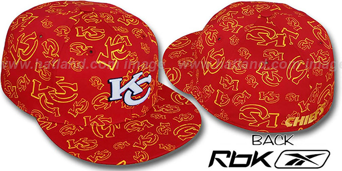 Chiefs 'TEAM-PRINT ALL-OVER' Red Fitted Hat by Reebok : pictured without stickers that these products are shipped with