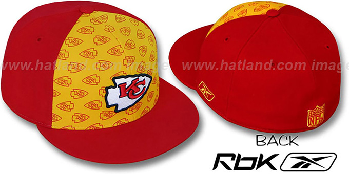 Chiefs 'TEAM-PRINT PINWHEEL' Gold-Red Fitted Hat by Reebok : pictured without stickers that these products are shipped with