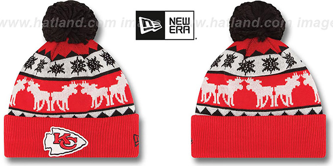 Chiefs 'THE-MOOSER' Knit Beanie Hat by New Era : pictured without stickers that these products are shipped with