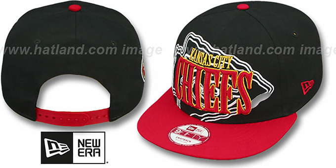 Chiefs 'THROUGH SNAPBACK' Black-Red Hat by New Era : pictured without stickers that these products are shipped with