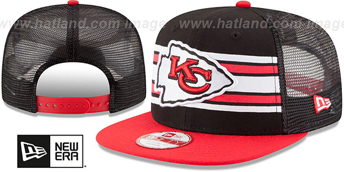 Chiefs 'THROWBACK-STRIPE SNAPBACK' Black-Red Hat by New Era : pictured without stickers that these products are shipped with