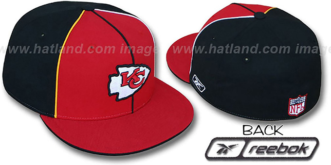 Chiefs 'TRI PIPING PINWHEEL' Red Black Fitted Hat by Reebok : pictured without stickers that these products are shipped with