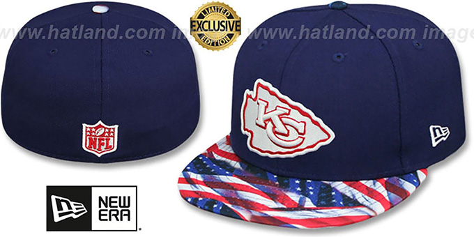 Chiefs 'USA WAVING-FLAG' Navy Fitted Hat by New Era : pictured without stickers that these products are shipped with