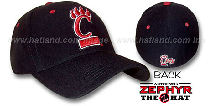 Cincinnati 'DH' Fitted Hat by ZEPHYR - black : pictured without stickers that these products are shipped with