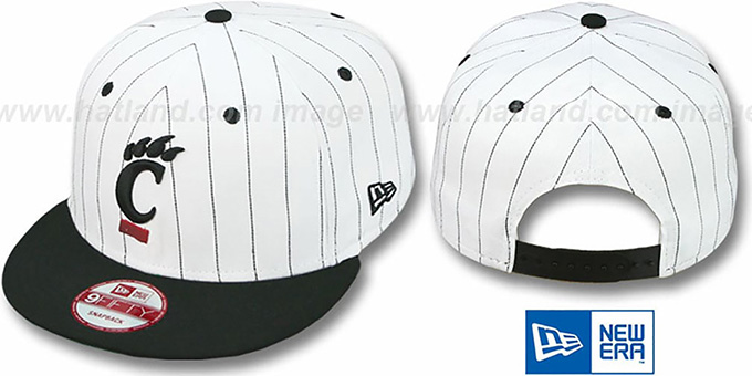 Cincinnati 'PINSTRIPE BITD SNAPBACK' White-Black Hat by New Era : pictured without stickers that these products are shipped with