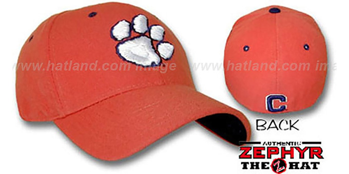 Clemson 'DHS' Orange Fitted Hat by Zephyr : pictured without stickers that these products are shipped with