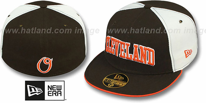Cleveland 'PINWHEEL-CITY' Brown-White-Brown Fitted Hat by New Era : pictured without stickers that these products are shipped with
