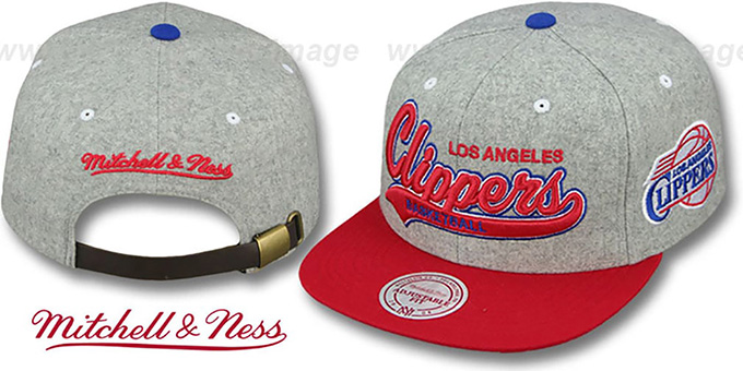 Clippers '2T TAILSWEEPER STRAPBACK' Grey-Red Hat by Mitchell & Ness : pictured without stickers that these products are shipped with