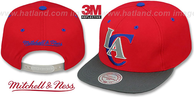 Clippers '3M XL-LOGO SNAPBACK' Red-Grey Hat by Mitchell & Ness : pictured without stickers that these products are shipped with